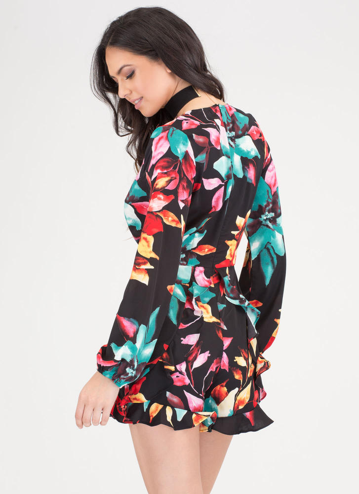 Tropical Vacation Ruffled Floral Romper BLACKMULTI