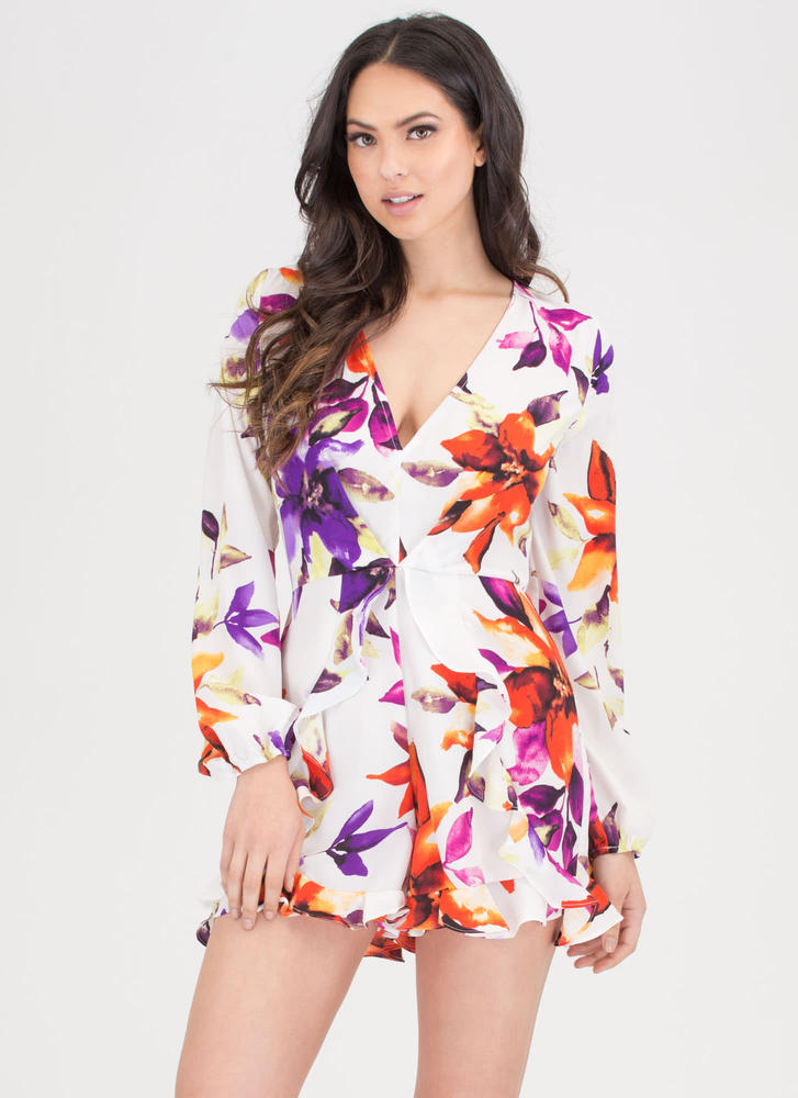 Tropical Vacation Ruffled Floral Romper WHITEMULTI