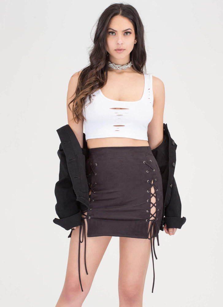 Turn Of The Tied Faux Suede Miniskirt BLACK CAMEL - GoJane.com