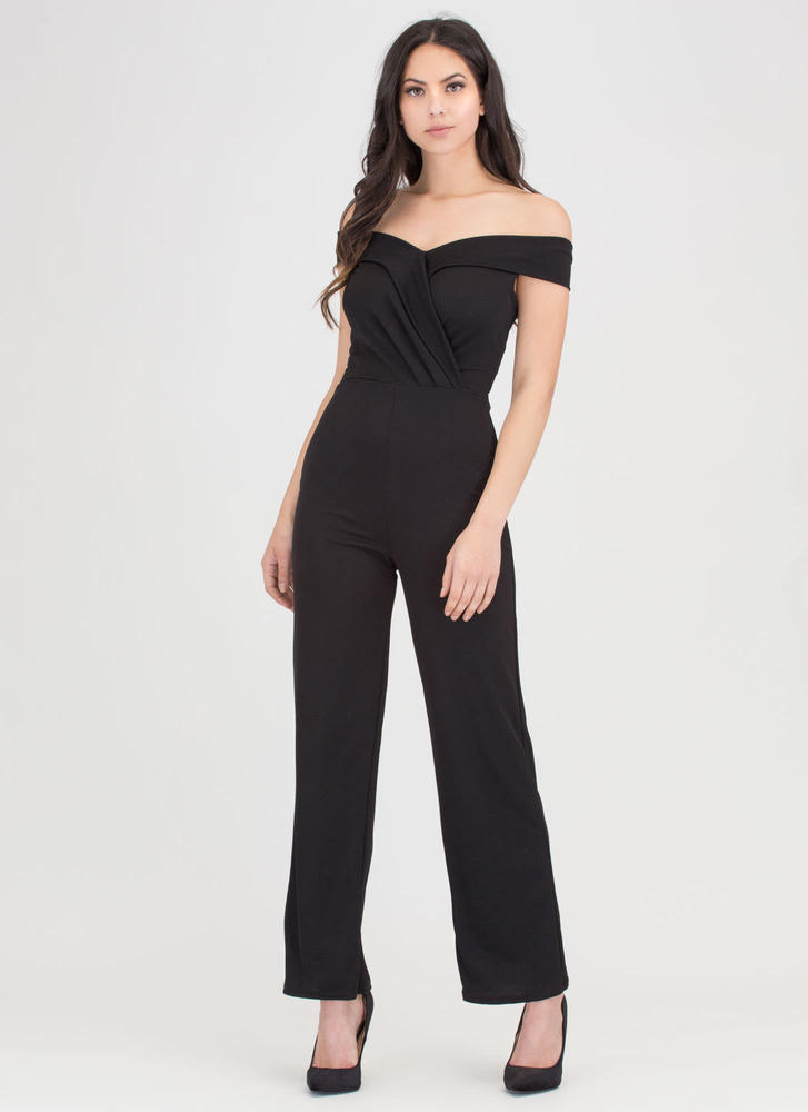 Day And Night Off-Shoulder Jumpsuit BLACK