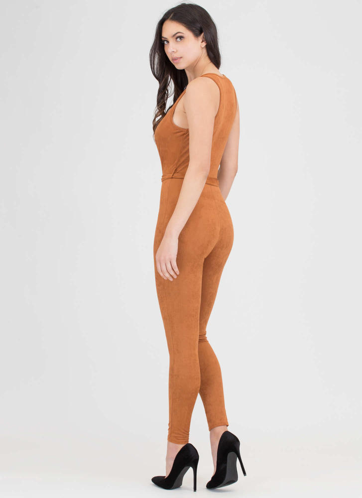 Chic 4 You Plunging Faux Suede Jumpsuit CAMEL