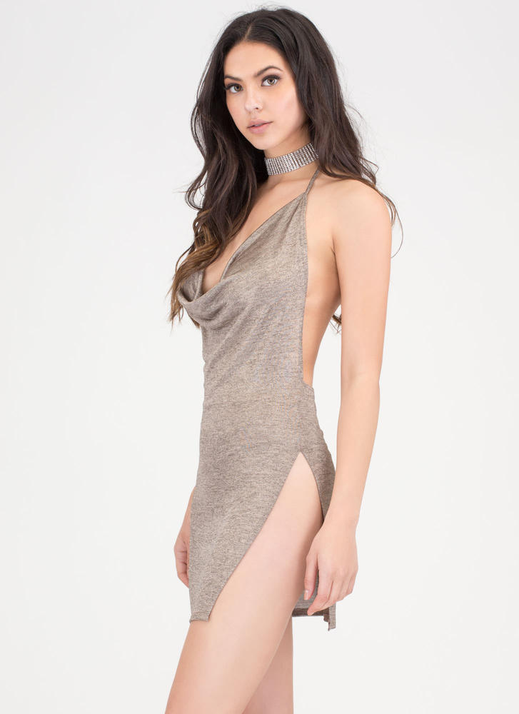 Draped To Meet You Plunging Minidress GOLD