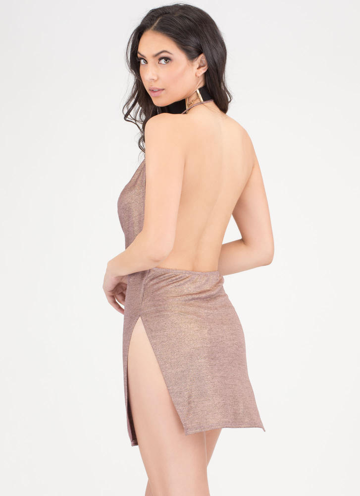 Draped To Meet You Plunging Minidress ROSEGOLD