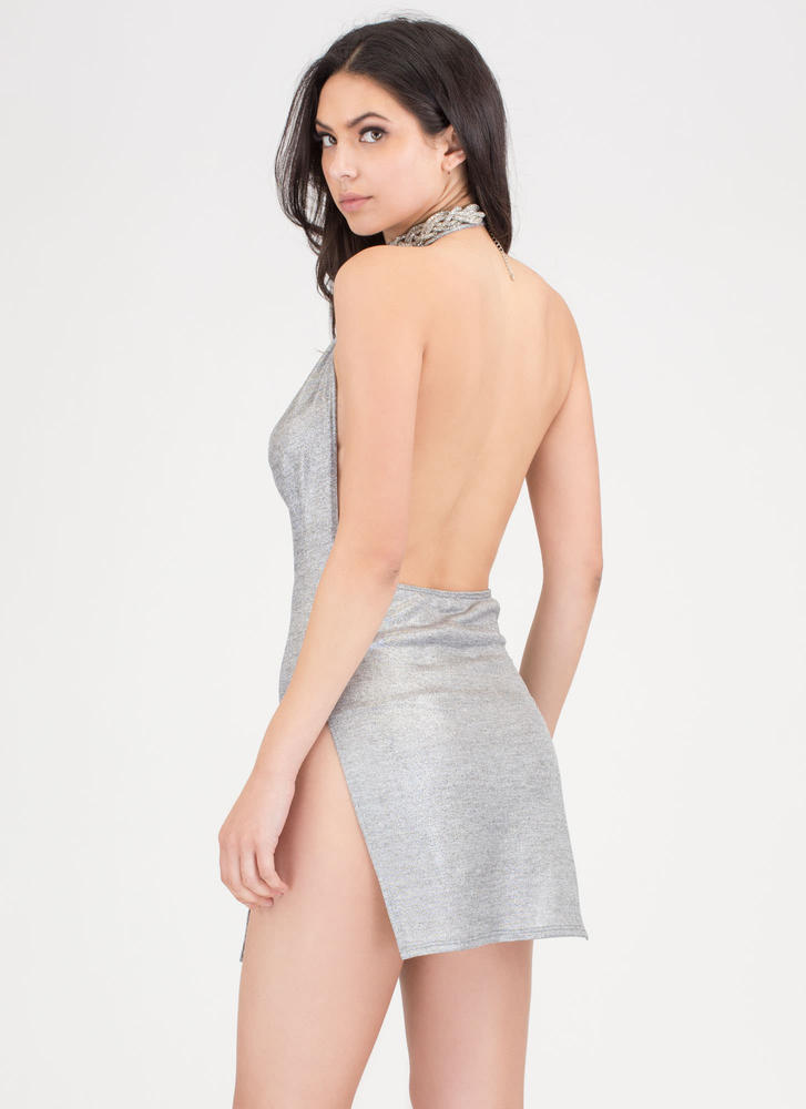 Draped To Meet You Plunging Minidress SILVER