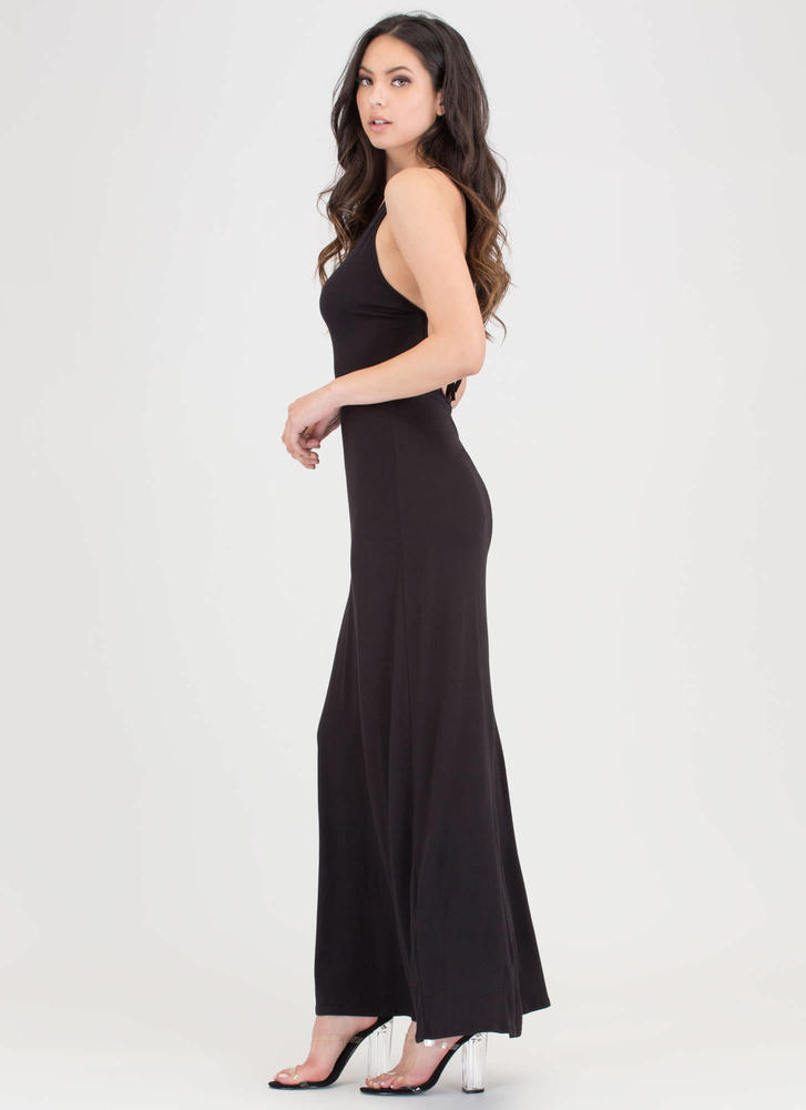 At A Crossroad Tied Maxi Dress BLACK