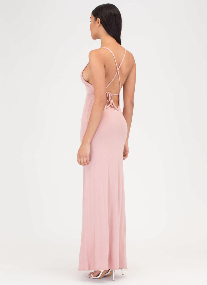 At A Crossroad Tied Maxi Dress MAUVE