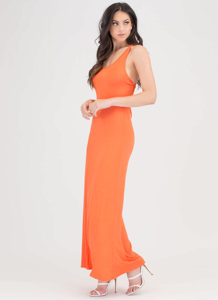 At A Crossroad Tied Maxi Dress ORANGE