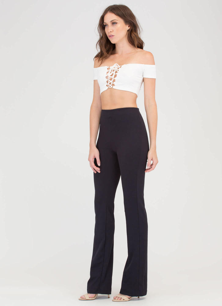 Just Perfect Flared High-Waisted Pants BLACK