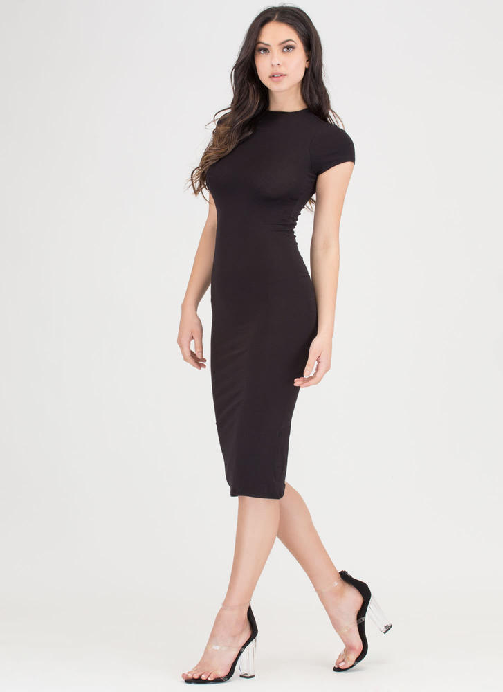 It Girl Style Caged Cut-Out Midi Dress BLACK