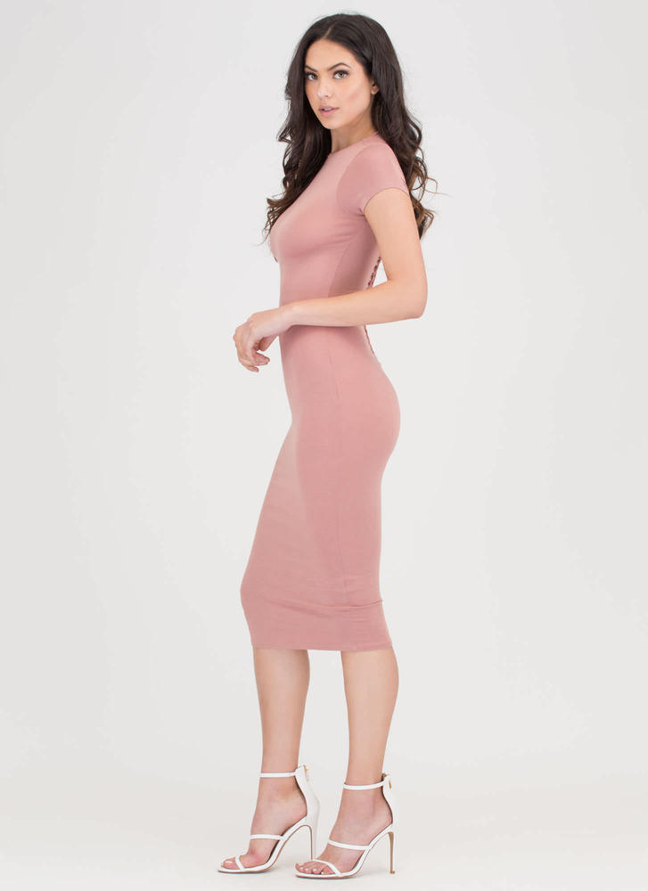 It Girl Style Caged Cut-Out Midi Dress MAUVE