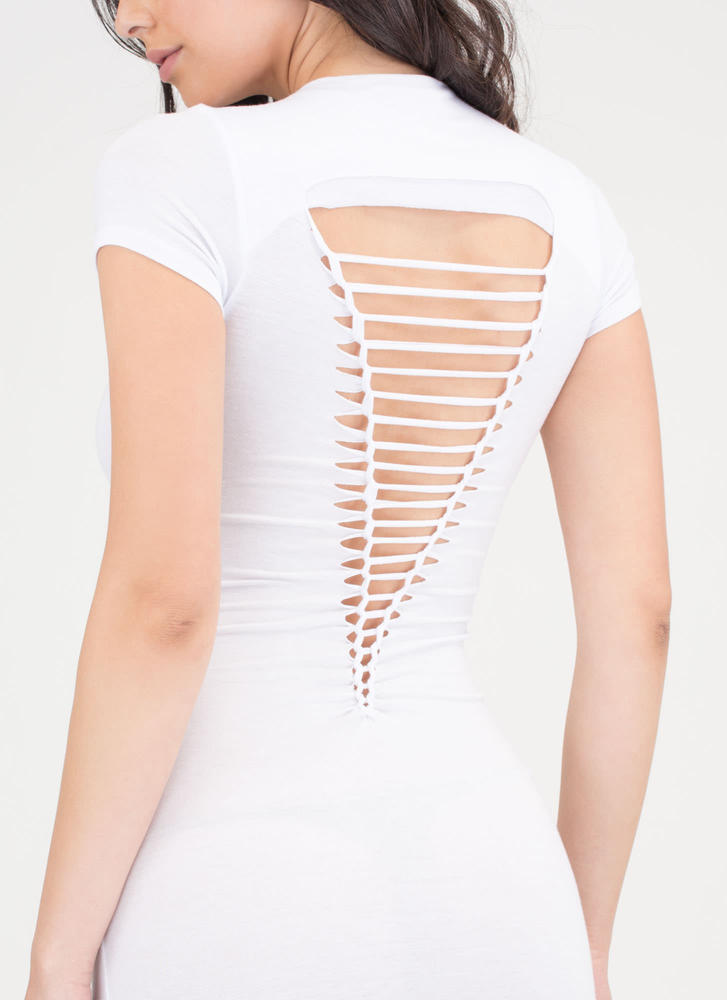 It Girl Style Caged Cut-Out Midi Dress WHITE