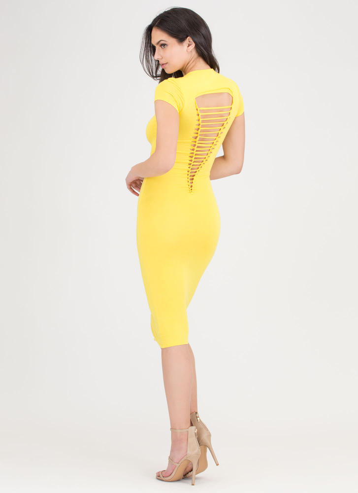 It Girl Style Caged Cut-Out Midi Dress YELLOW