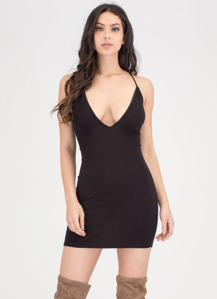 All Night Long Lace-Up Bodycon Minidress