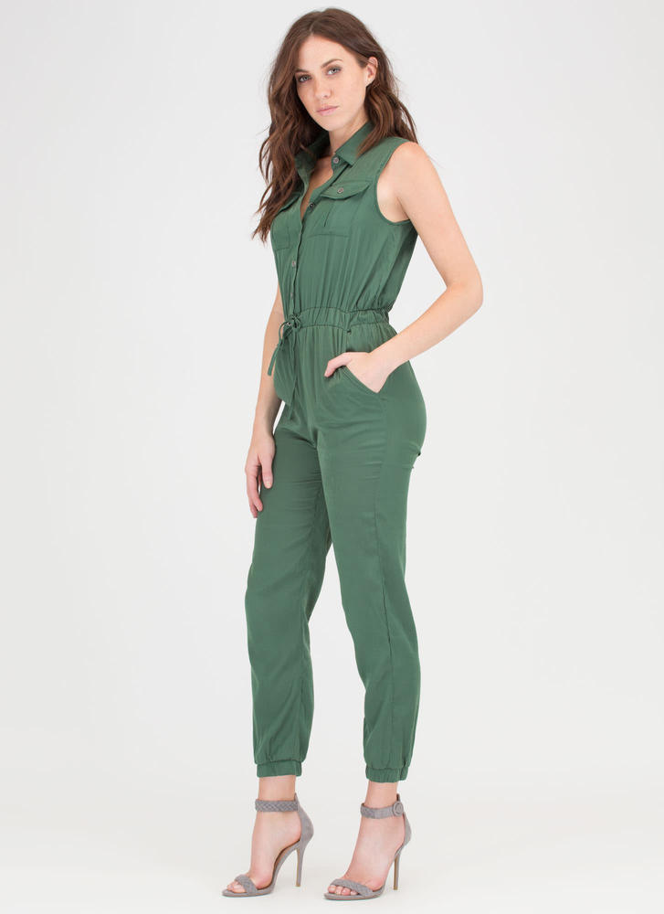 My Precious Cargo Jogger Jumpsuit OLIVE