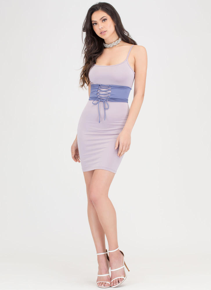 Yes Of Corset Colorblock Lace-Up Dress LAVENDER