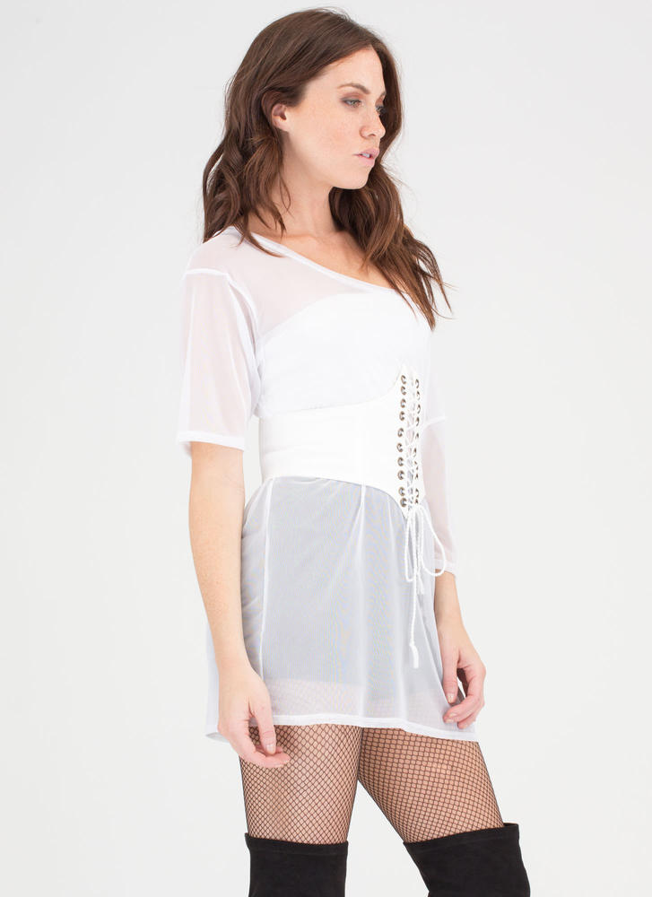 Diamond In The Lace-Up Corset Belt WHITE