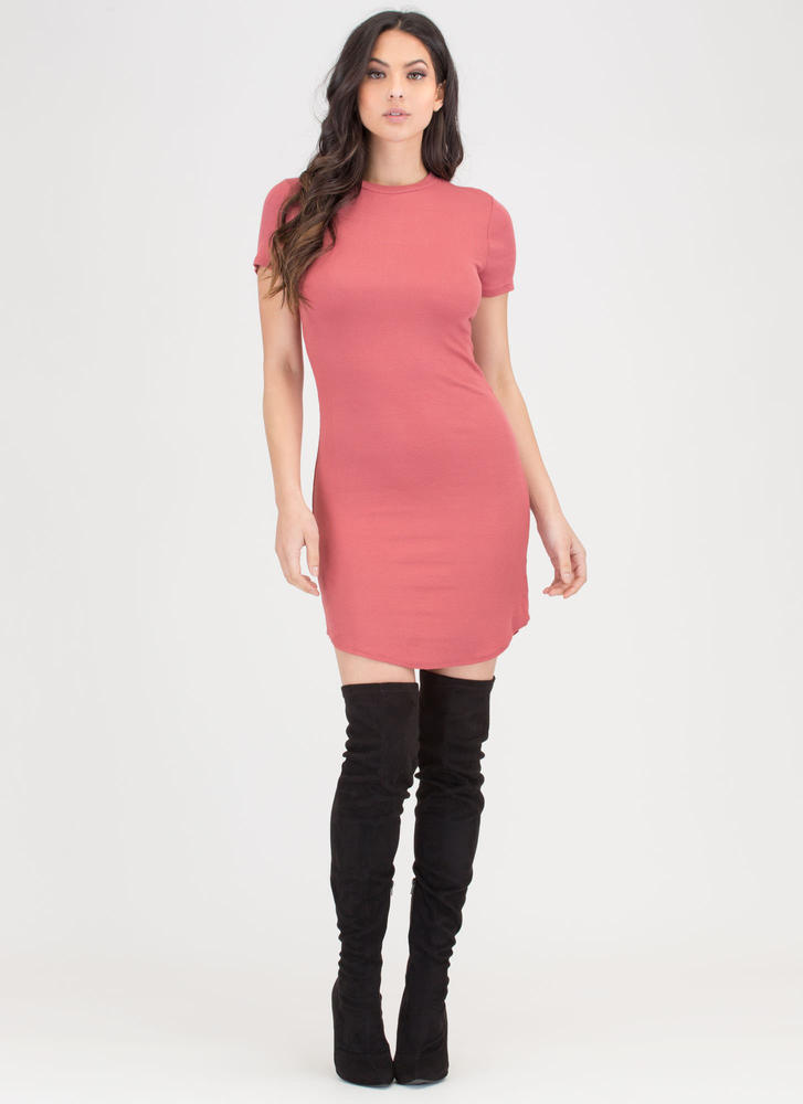 Easy Choice Ribbed Round Hem Dress
