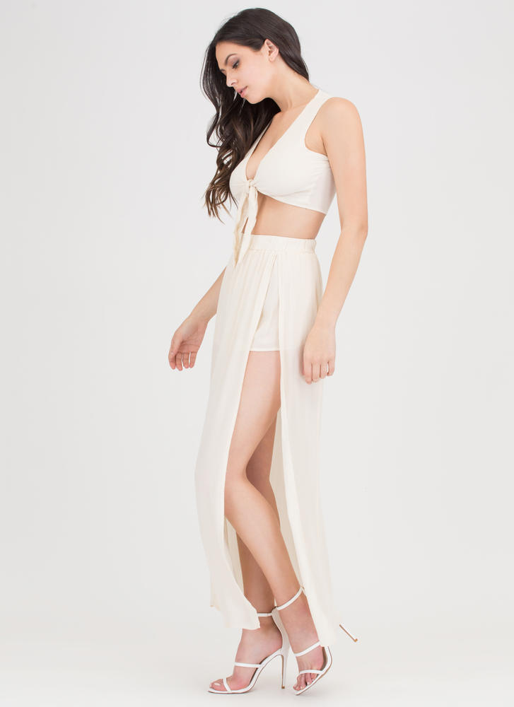 Go With The Flow Tied Two-Piece Maxi BEIGE