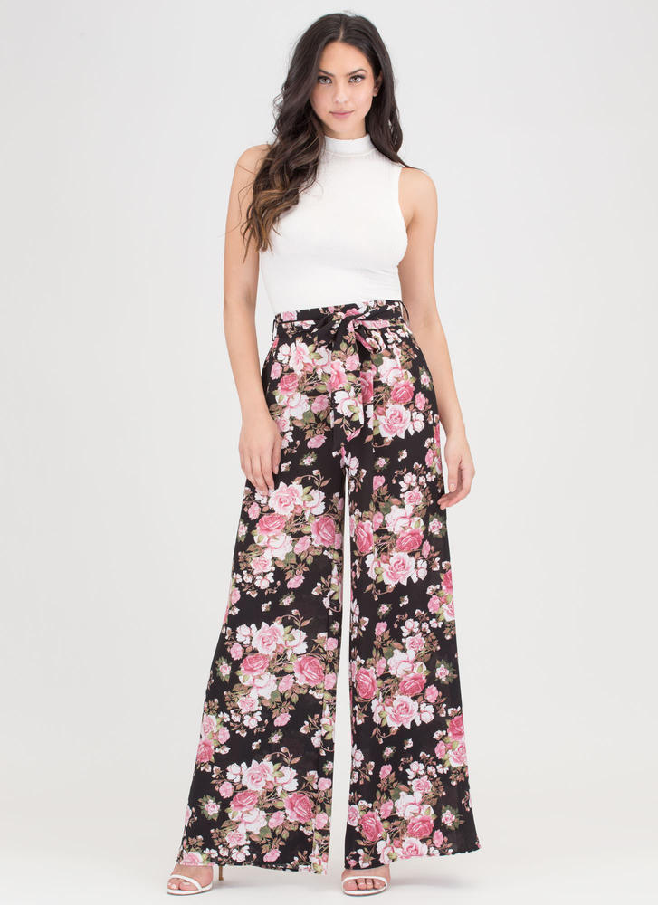 Strike A Rose Tied Palazzo Pants