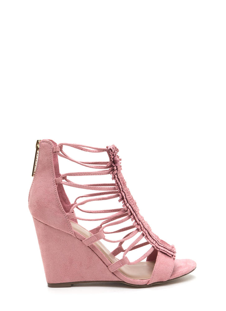 Fringe Benefit Caged Faux Suede Wedges