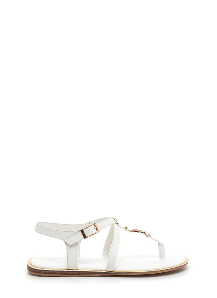 Medallion Winner T-Strap Sandals