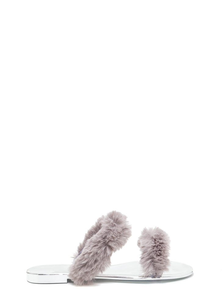 Double Up Furry Strap Jelly Sandals GREY