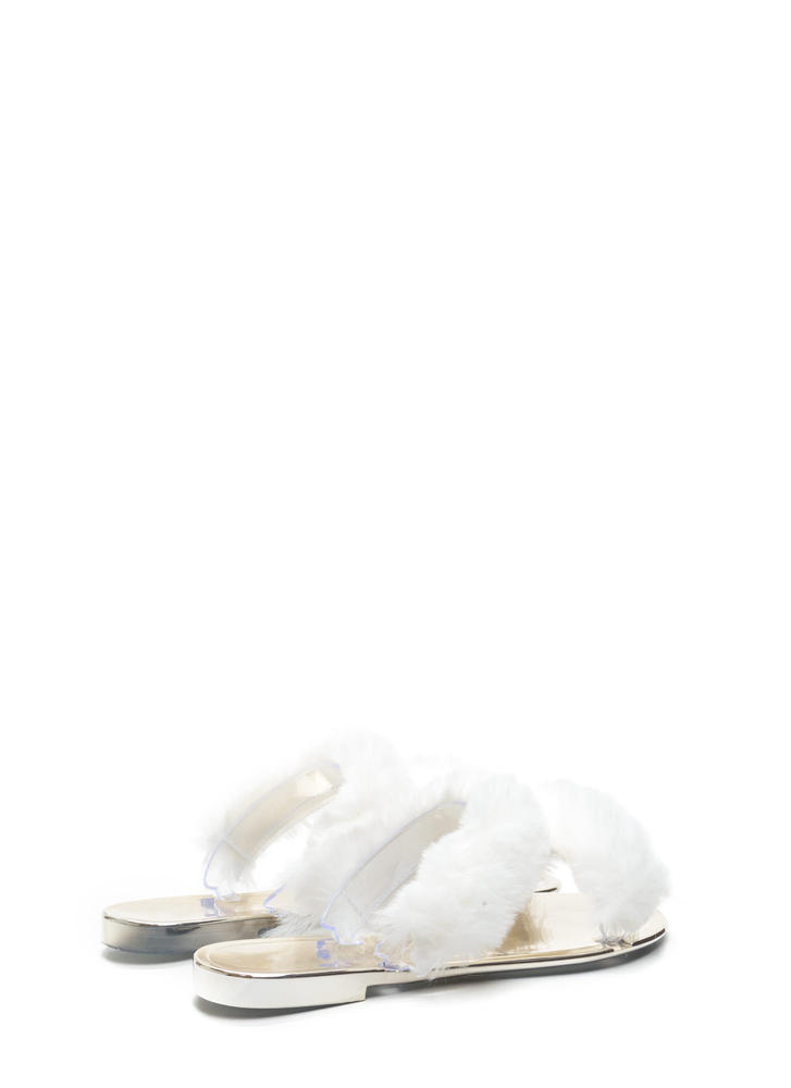 Double Up Furry Strap Jelly Sandals WHITE