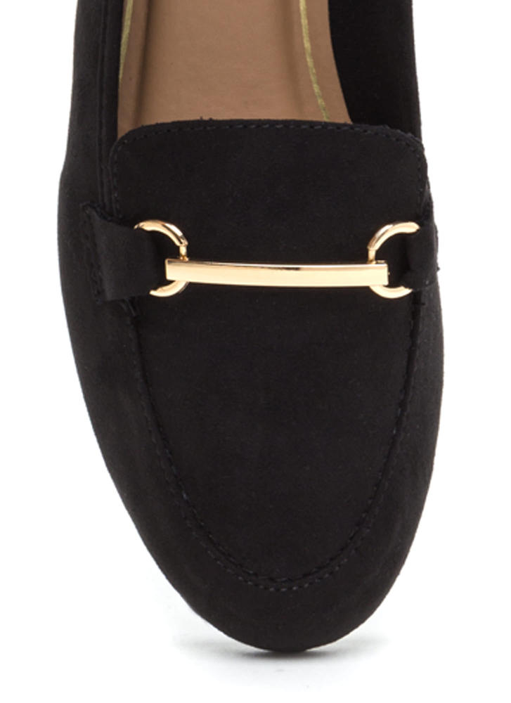 Bar Ring Any Issues Faux Suede Flats BLACK
