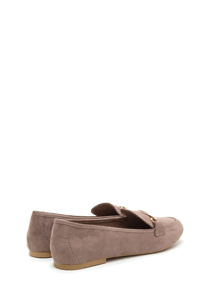 Bar Ring Any Issues Faux Suede Flats LTTAUPE