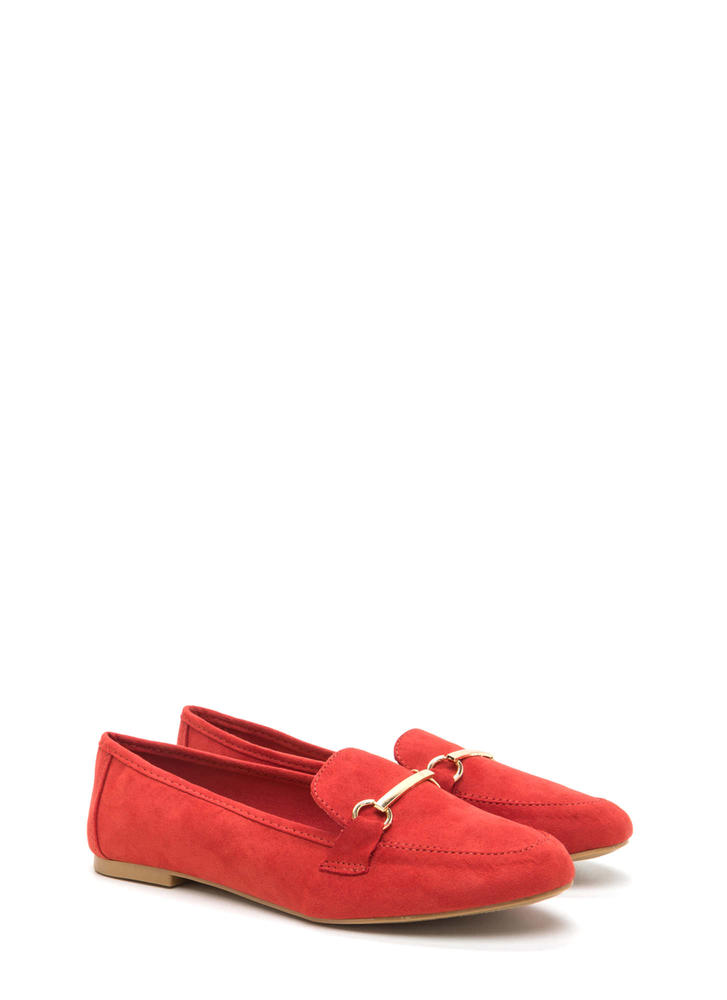 Bar Ring Any Issues Faux Suede Flats ORANGE