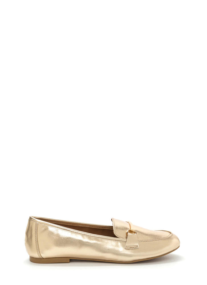 Bar Ring Any Issues Metallic Flats GOLD