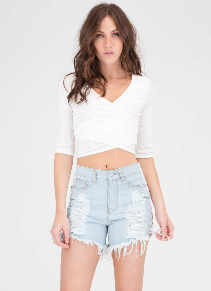 Let's Lace Up Destroyed Jean Shorts LTBLUE