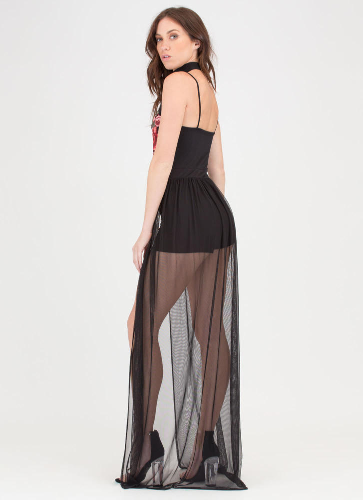Flower Up Sheer Mesh Applique Maxi BLACK