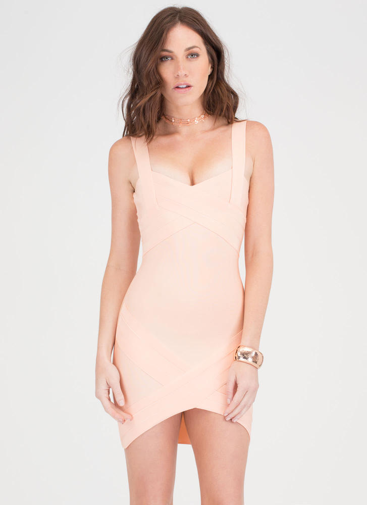 Double Crossed High-Low Bandage Dress