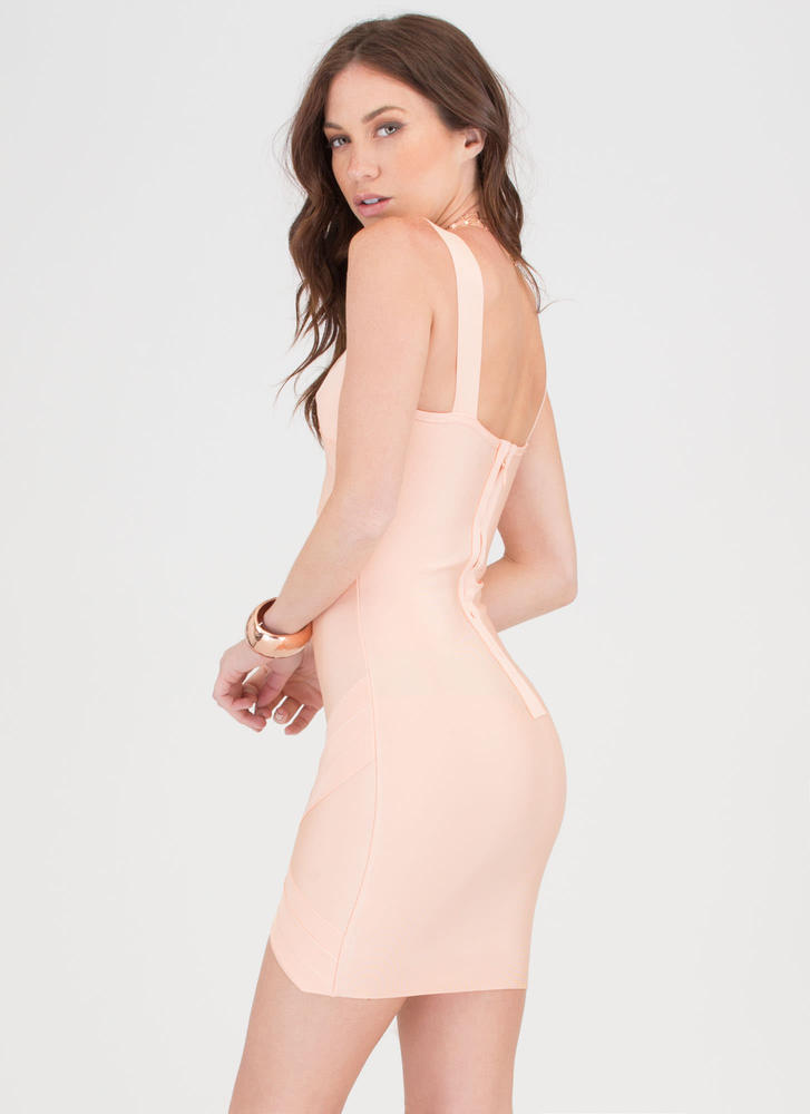 Double Crossed High-Low Bandage Dress BLUSH