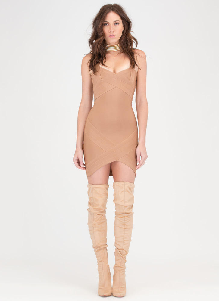 Double Crossed High-Low Bandage Dress TAN