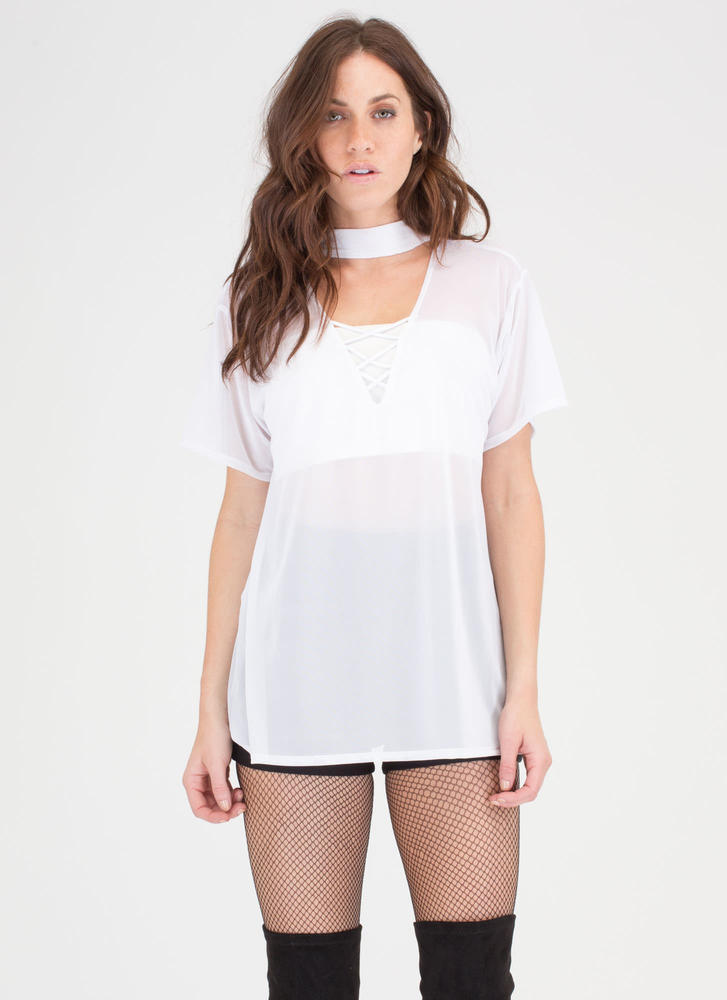 What A Mesh Sheer Laced Choker Top WHITE