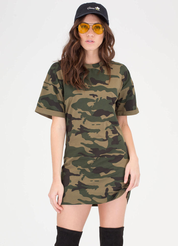 Tough Love Cuffed Camo T-Shirt Dress