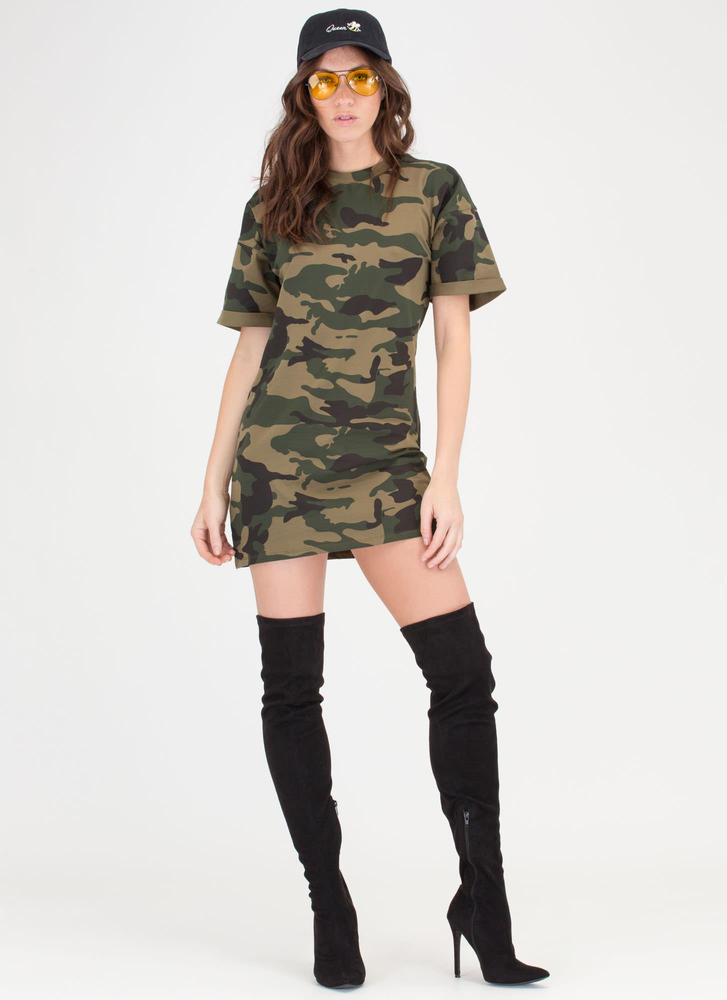 Tough Love Cuffed Camo T-Shirt Dress CAMOUFLAGE