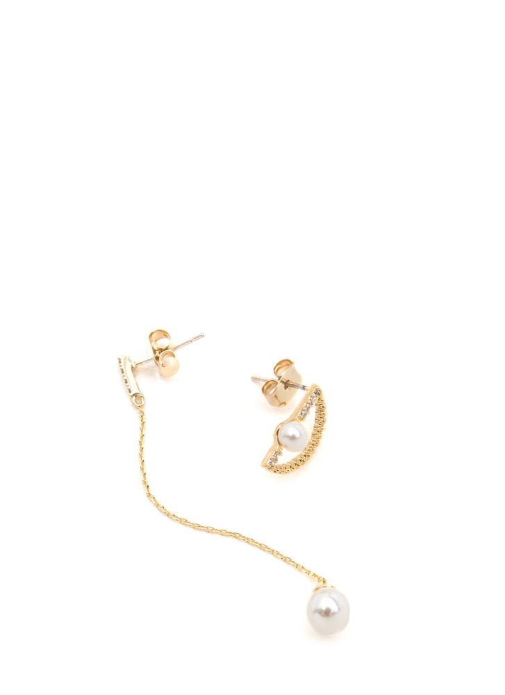 Pearly Girl Mismatched Earrings GOLD