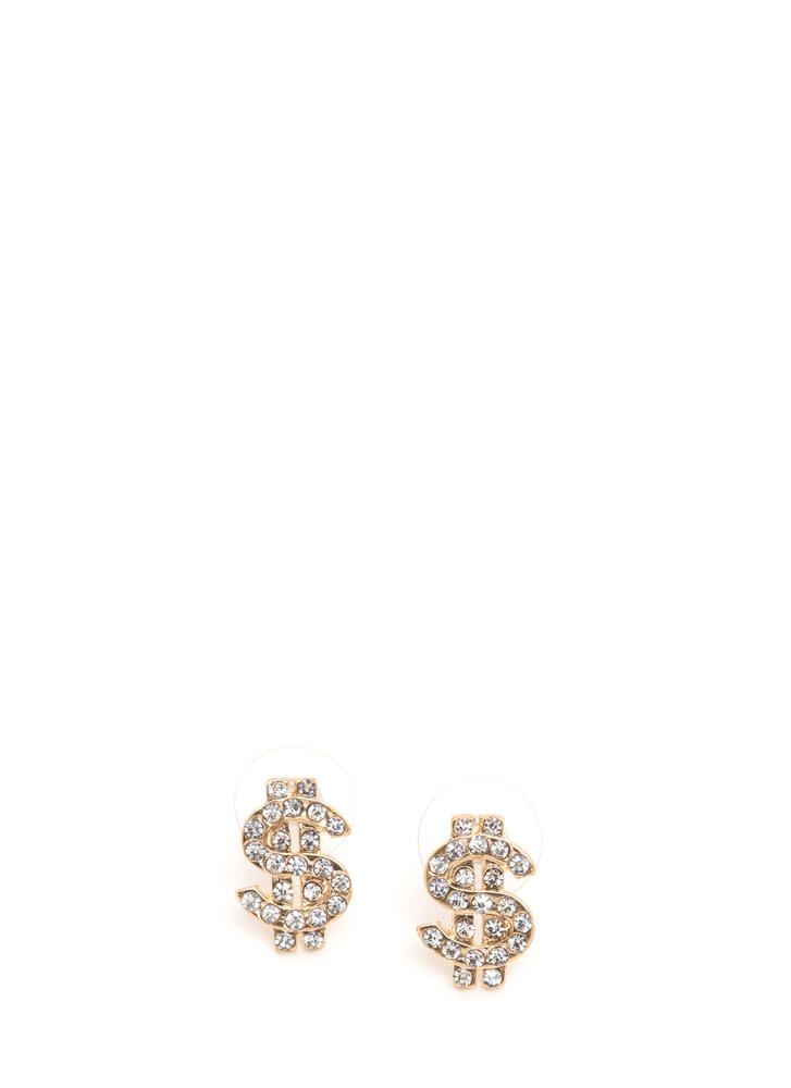Money Talks Jeweled Dollar Sign Earrings