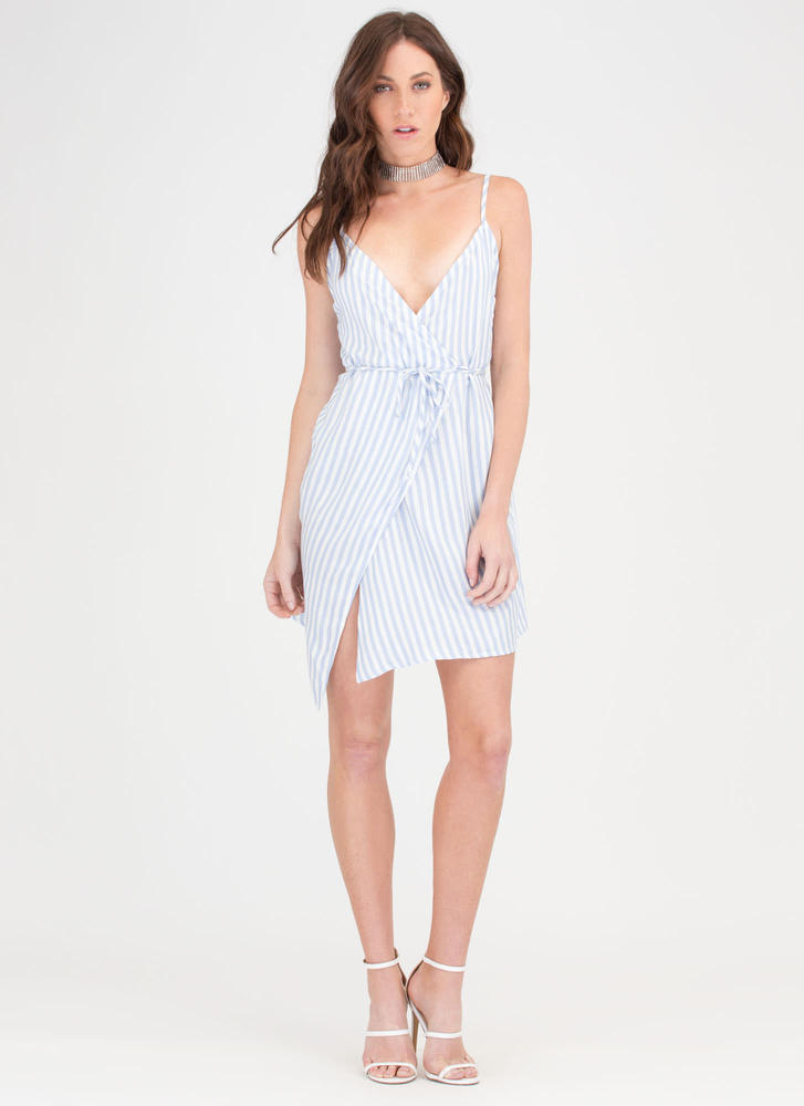 Stripe A Balance Wrap Minidress