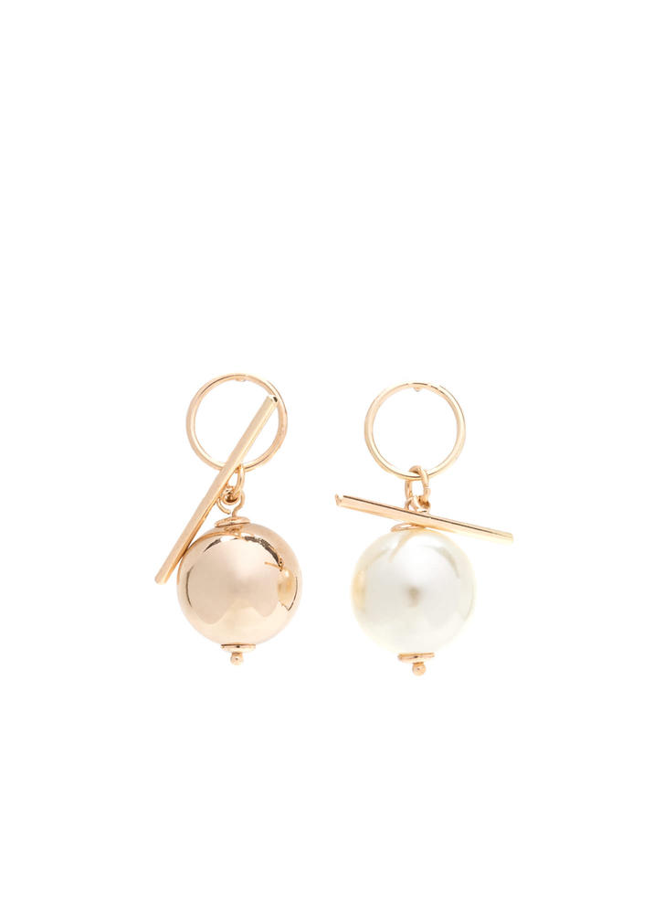 Pearl Of The Ball Mismatched Earrings