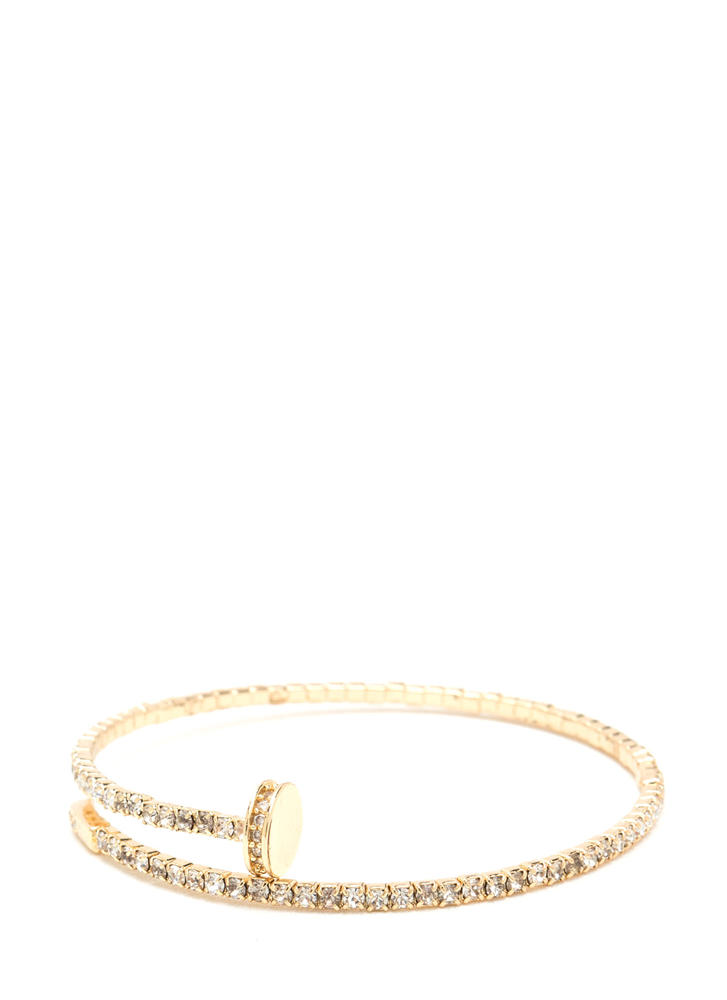 Nailed It Springy Rhinestone Bracelet GOLD