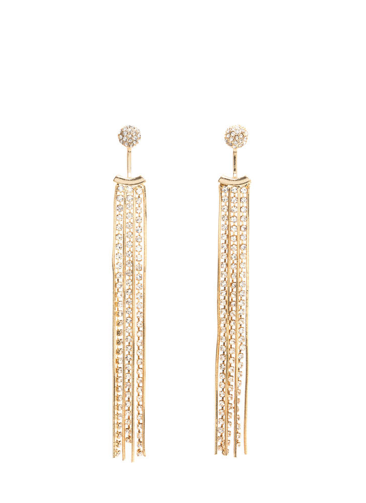 Tassel Time Jeweled Jacket Earrings
