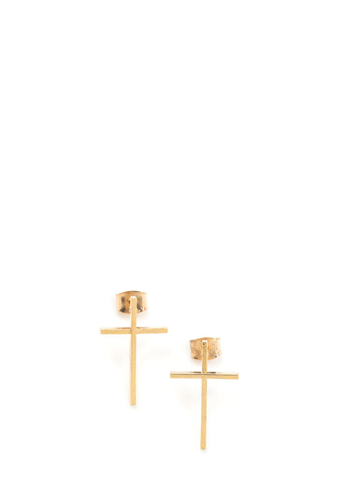 Feeling Cross Charm Earrings