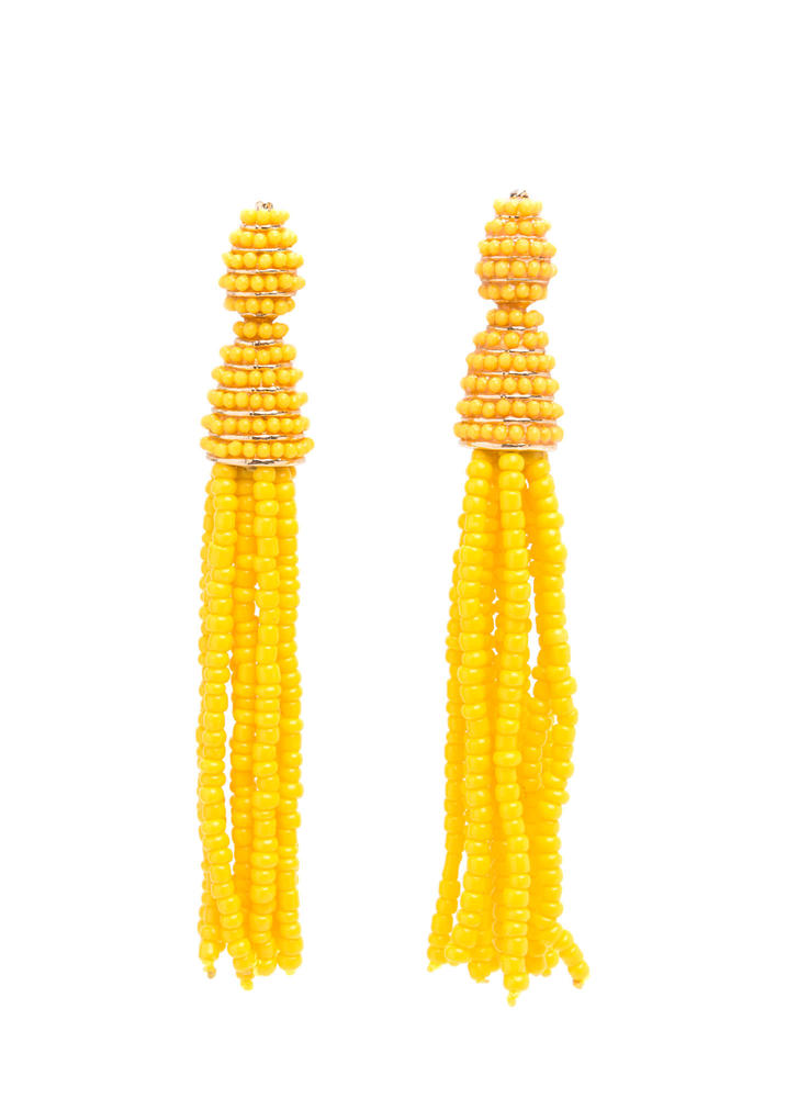 Festival Fun Bead Tassel Earrings YELLOW