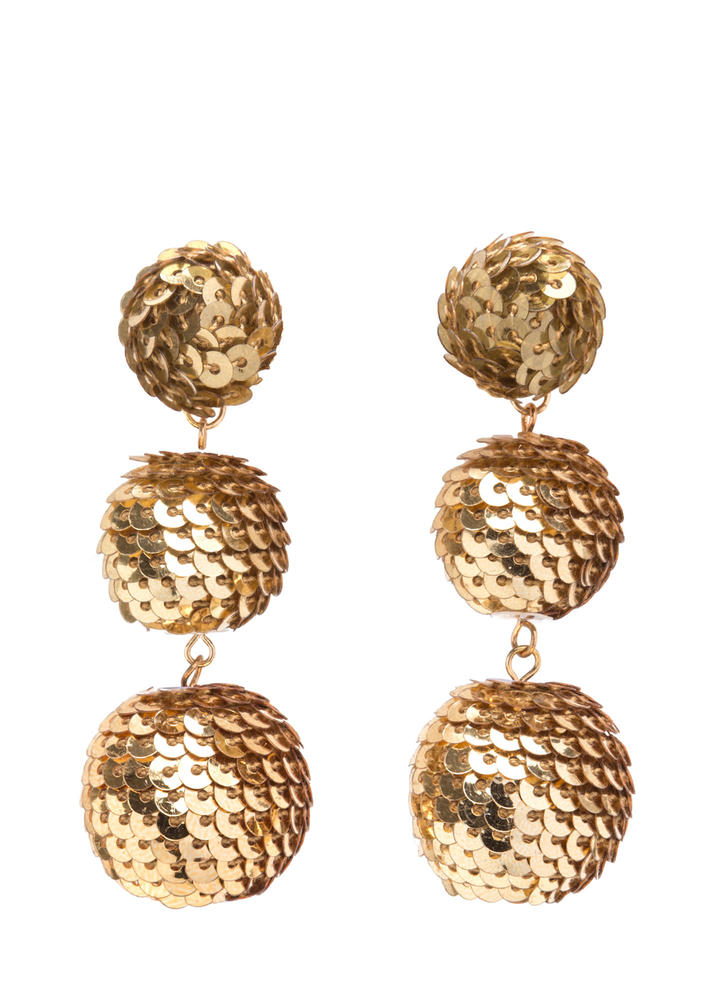 Having A Ball Sequined Earrings GOLD