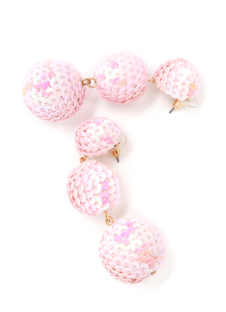 Having A Ball Sequined Earrings PINK
