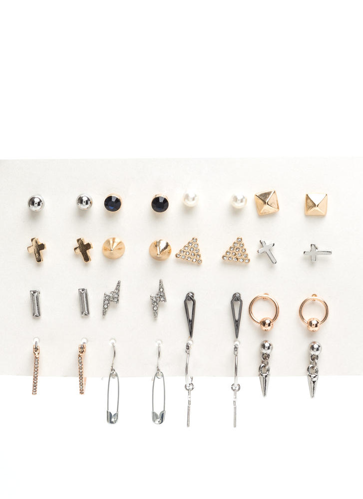 Sweet Sixteen Safety Pin Earring Set